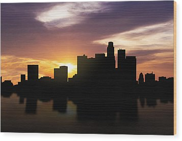 Los Angeles Sunset Skyline  Wood Print by Aged Pixel