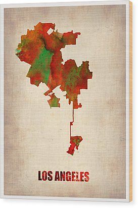 Los Angeles Watercolor Map Wood Print by Naxart Studio