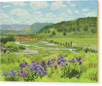 Los Penasquitos Looking East Wood Print by Mary Helmreich