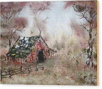 Wood Print featuring the painting Lost Barn by The GYPSY And DEBBIE