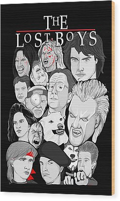 Lost Boys Collage Wood Print by Gary Niles