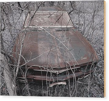 Wood Print featuring the photograph Lost Corvair Adjustment  by Christopher McKenzie
