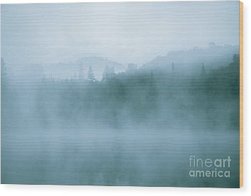 Lost In Fog Over Lake Wood Print