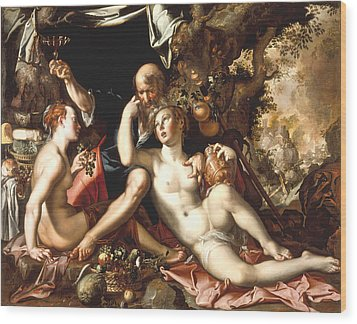 Lot And His Daughters Wood Print by Joachim Antonisz Wtewael