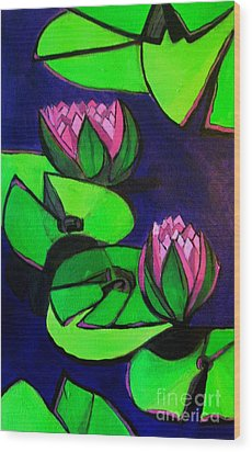 Lotus 2 Botanical Flowers Wood Print
