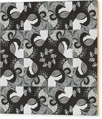 Wood Print featuring the drawing Lotus And Birds by Mukta Gupta
