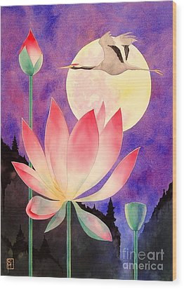 Lotus And Crane Wood Print by Robert Hooper