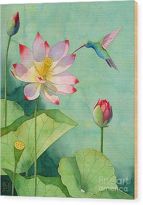Lotus And Hummingbird Wood Print
