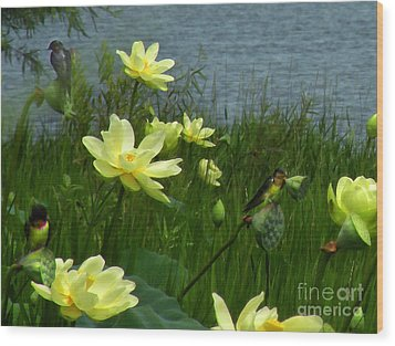 Wood Print featuring the photograph Lotus And Swallows by Deborah Smith