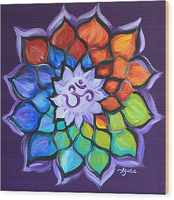 Wood Print featuring the painting Lotus Flower by Agata Lindquist