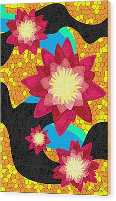 Lotus Flower Bombs In Magenta Wood Print by Kenal Louis