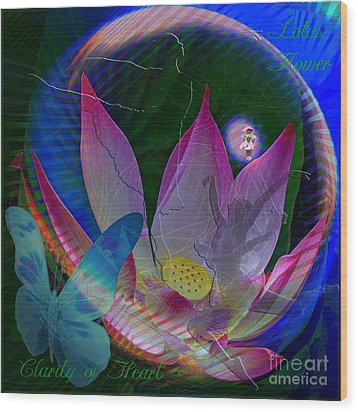 Lotus Flower Energy Wood Print by Joseph Mosley