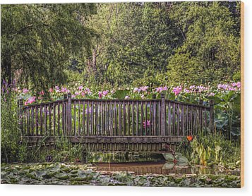 Wood Print featuring the photograph Lotus Garden Pond And Bridge by Jerry Gammon