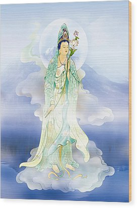 Wood Print featuring the photograph Lotus-holding Kuan Yin by Lanjee Chee
