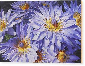 Lotus Light - Hawaiian Tropical Floral Wood Print by Karen Whitworth