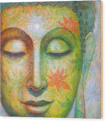 Wood Print featuring the painting Lotus Meditation Buddha by Sue Halstenberg