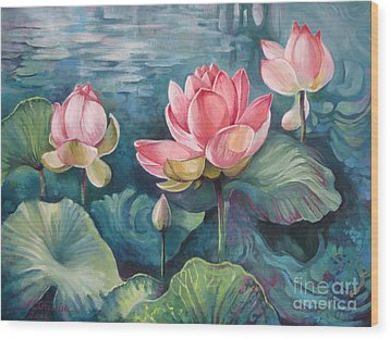 Lotus Pond Wood Print by Elena Oleniuc