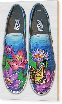 Lotus Shoes Wood Print
