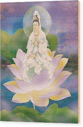 Wood Print featuring the photograph Lotus-sitting Avalokitesvara  by Lanjee Chee