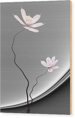 Lotus Twins Wood Print by GuoJun Pan