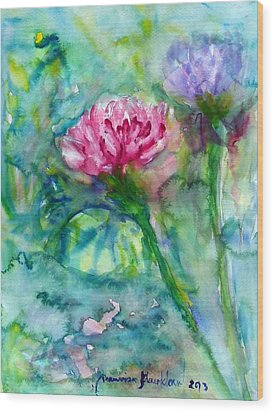 Lotus Wood Print by Wanvisa Klawklean
