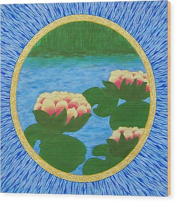 Lotuses Mandala Wood Print by Vlatka Kelc