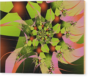 Wood Print featuring the digital art Loud Bouquet by Elizabeth McTaggart