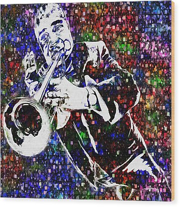Louie Armstrong Wood Print by Jack Zulli