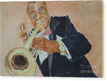 Louis Armstrong 1 Wood Print by Katie Spicuzza