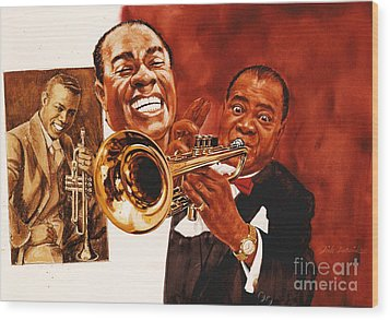 Louis Armstrong Wood Print by Dick Bobnick