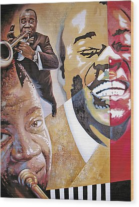 Wood Print featuring the painting Louis Armstrong by Dmitry Spiros