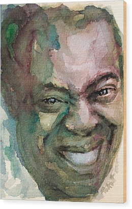 Wood Print featuring the painting Louis Armstrong by Laur Iduc