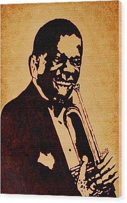 Louis Armstrong Original Coffee Painting Art Wood Print by Georgeta  Blanaru