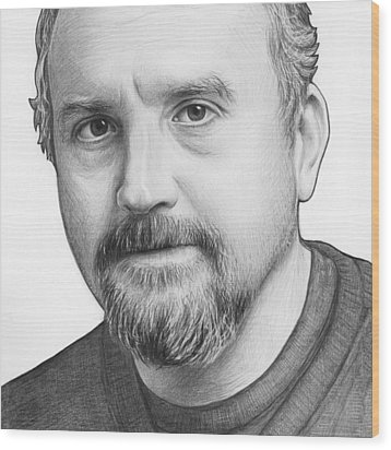 Louis Ck Portrait Wood Print by Olga Shvartsur