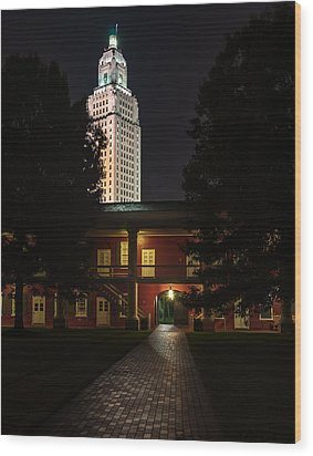 Louisiana State Capitol And Pentagon Barracks Wood Print by Andy Crawford