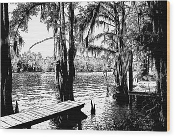 Louisiana Camp Landing Wood Print by Ronald Olivier