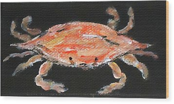 Louisiana Crab Wood Print by Katie Spicuzza