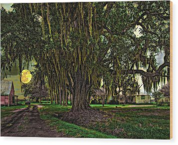 Louisiana Moon Rising Wood Print by Steve Harrington