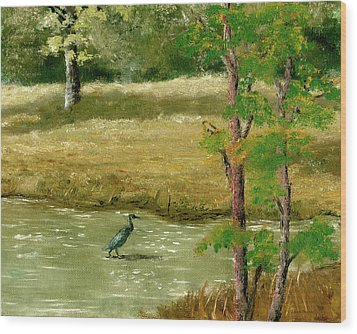 Wood Print featuring the painting Louisiana Pond With Heron by Lenora  De Lude