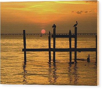 Louisiana Sunset  Wood Print