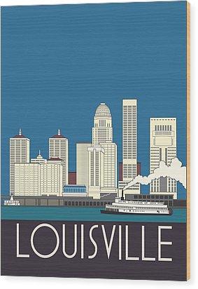 Louisville Art Deco Skyline Wood Print by Josef Spalenka