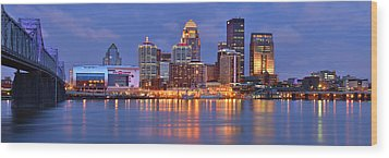 Louisville Skyline At Dusk Sunset Panorama Kentucky Wood Print by Jon Holiday