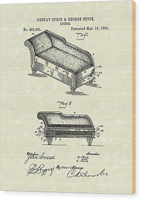 Lounge 1890 Patent Art Wood Print by Prior Art Design