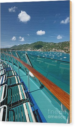 Lounge Chairs On Cruise Ship Wood Print by Amy Cicconi