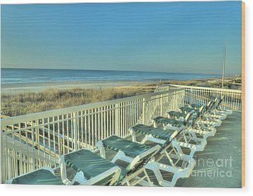 Lounge Chairs Overlooking Beach Wood Print