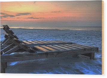 Lounge Closeup On Beach ... Wood Print by Michael Thomas