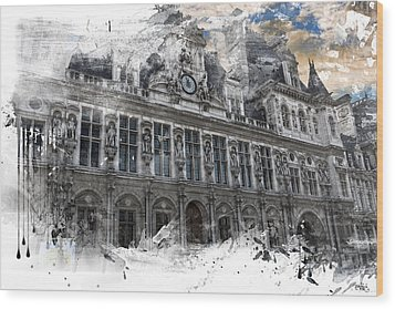 Louvre In A Splash Wood Print by Evie Carrier