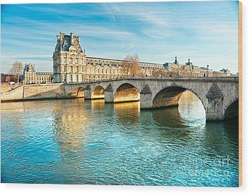 Louvre Museum And Pont Royal - Paris  Wood Print by Luciano Mortula