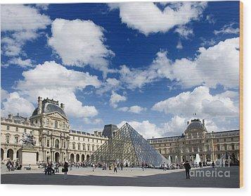 Louvre Museum. The Pyramid. Paris Wood Print by Bernard Jaubert