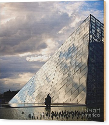 Louvre Pyramid. Paris Wood Print by Bernard Jaubert